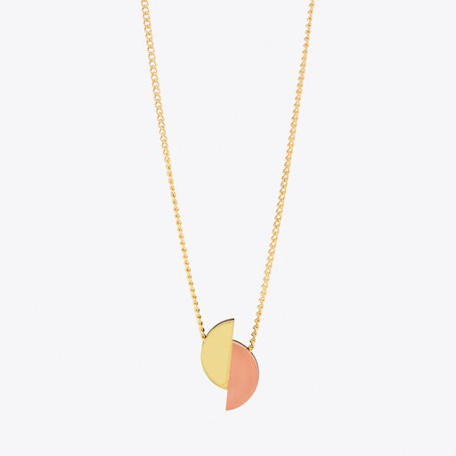 Split Circle Necklace Apricot and Gold
