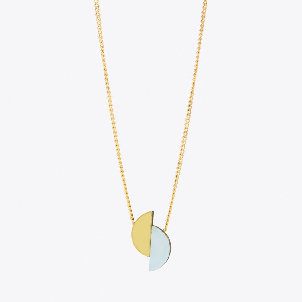 Split Circle Necklace Pastel Blue and Gold