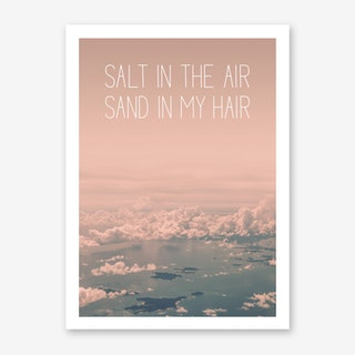 Landscapes Typographic 1 Salt in the Air Sand in my Hair Art Print