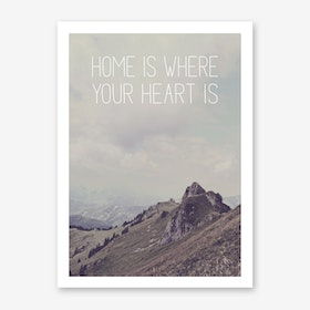 Landscapes Typographic 1 Home is where your Heart is Art Print