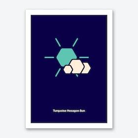 Tuquoise Hexagon Sun Art Print