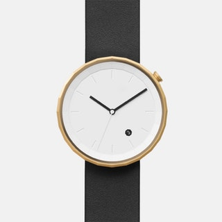 Polygon Watch 01 in Gold with Black Strap