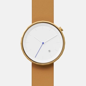 Polygon Watch 01 in Gold with Brown Strap