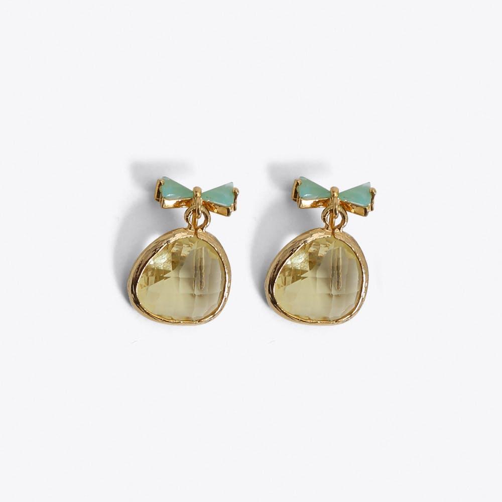 Bow Earrings in Gold & Mint