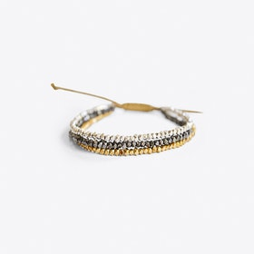 Beaded Bracelet in Grey Gold & Silver