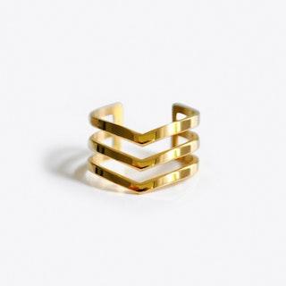 Chevron Midi Ring in Gold