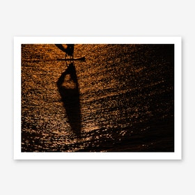 Silhouette Of A Windsurfer Art Print