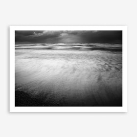 Winter Storm Over Sidni Ali beach Print In Black And White
