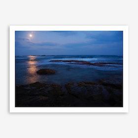 Moonset Sunrise Art Print