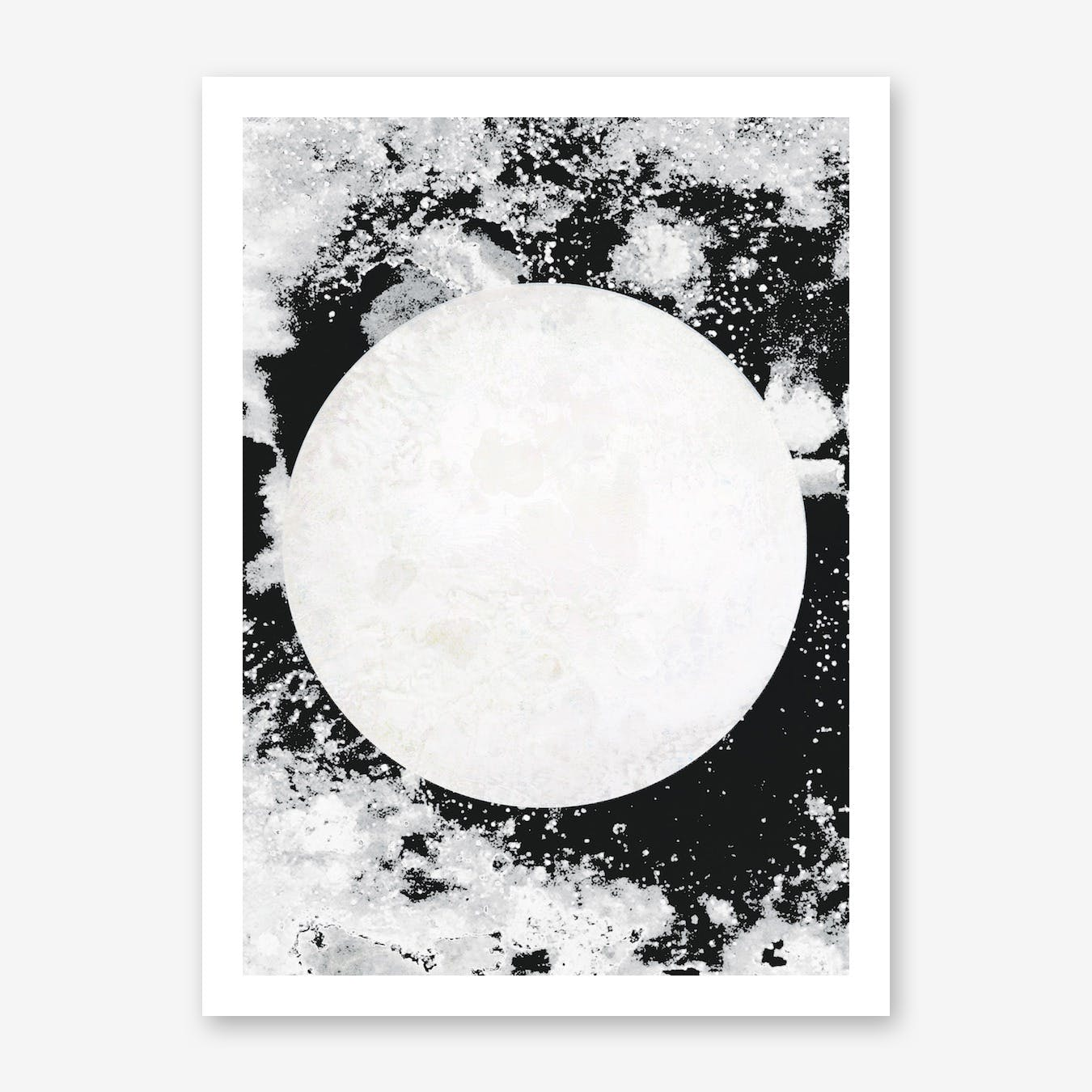Moon Black White Print