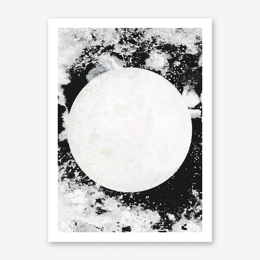 Moon Black White Print