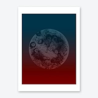Light Moon Red Blue Art Print