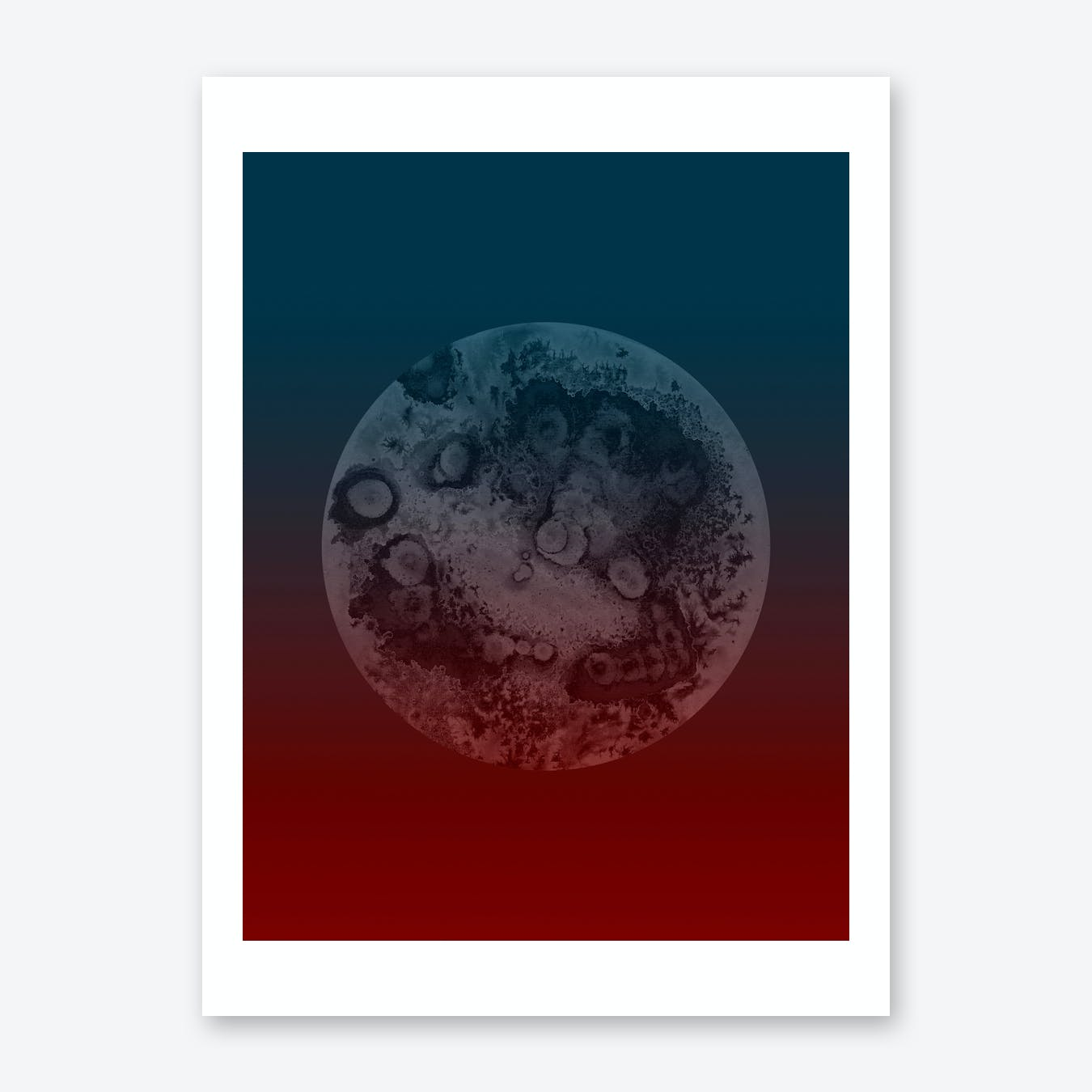 Light Moon Red Blue Print