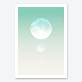 Moon Triplet Turquoise Art Print
