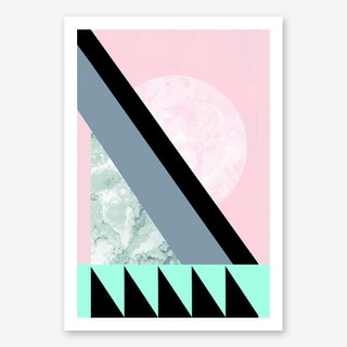 Turquoise Pink Geometric Art Print