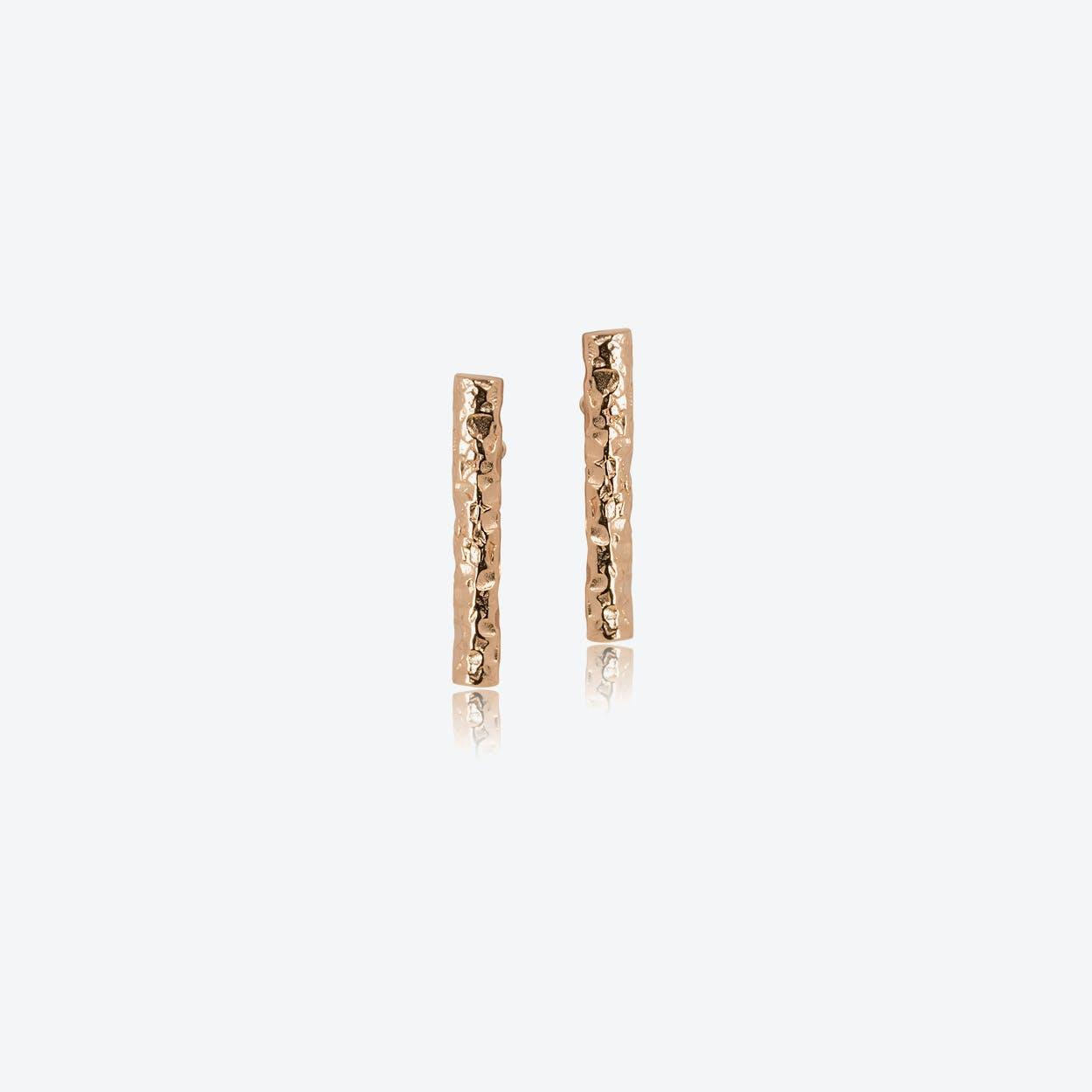 Meteorite Bar Earrings in Rose Gold