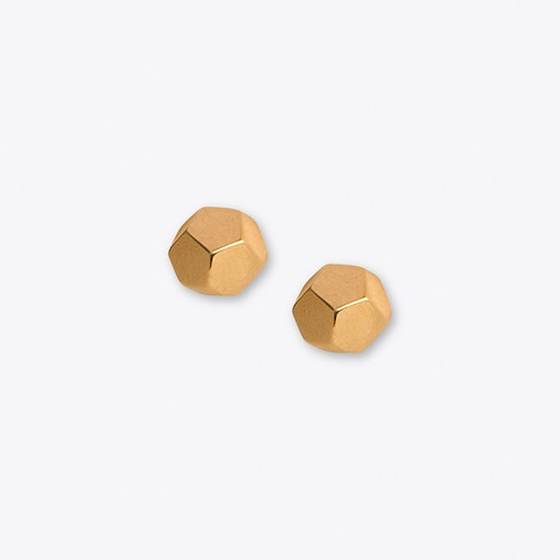 Dodecahedron Studs in Gold