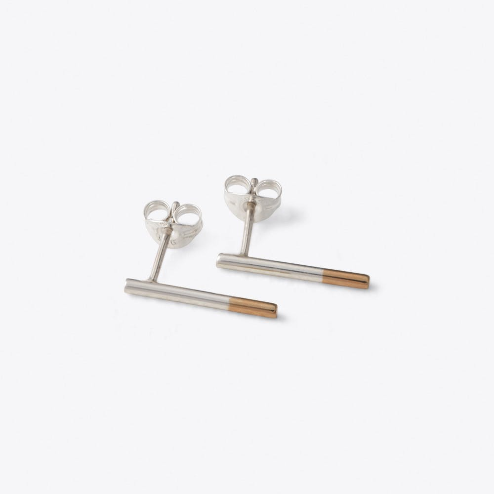 Dipped Wire Studs in Rose Gold