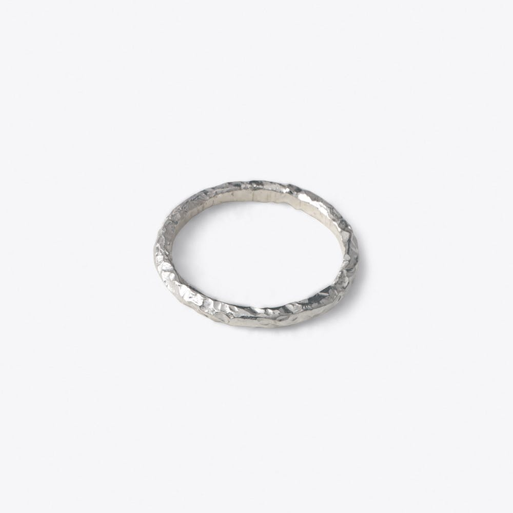 Thin Meteorite Ring in Silver