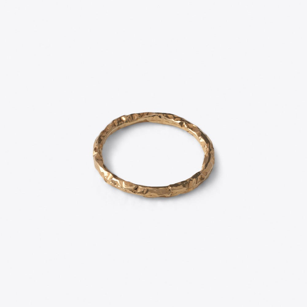 Thin Meteorite Ring in Rose Gold