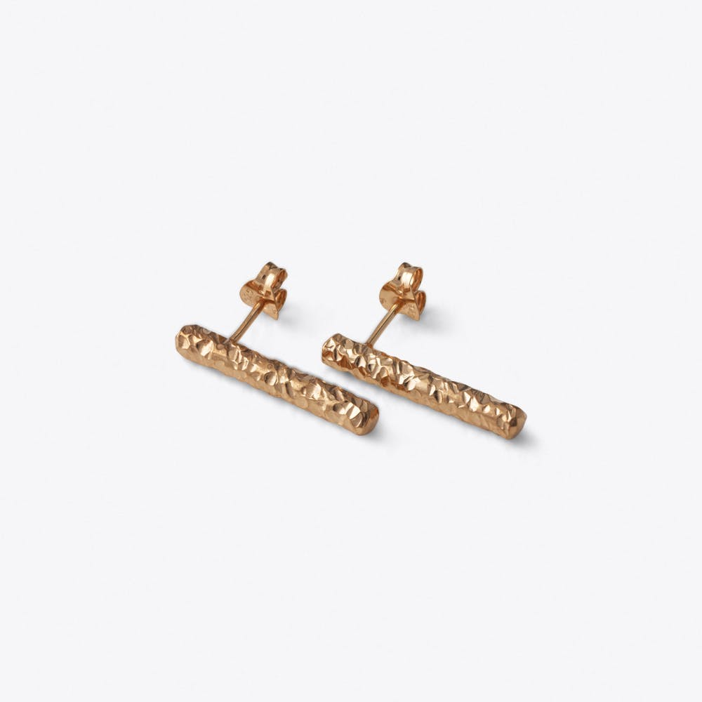 Meteorite Bar Earrings in Rose Gold