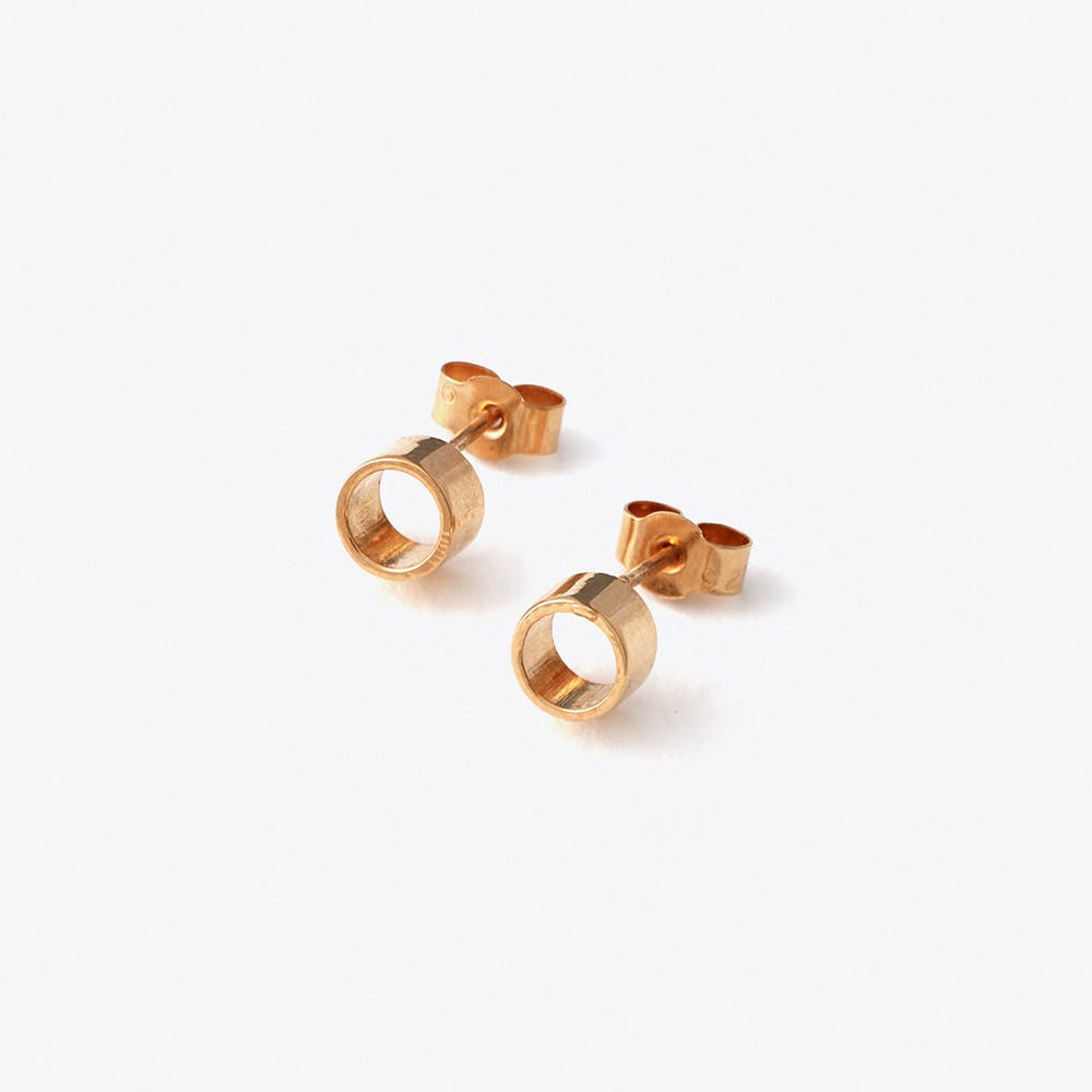 Tube Studs in Rose Gold