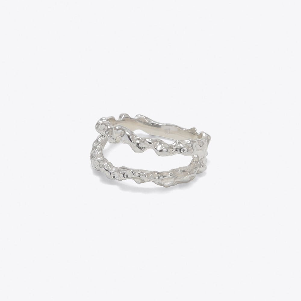 Double Meteor Ring in Silver