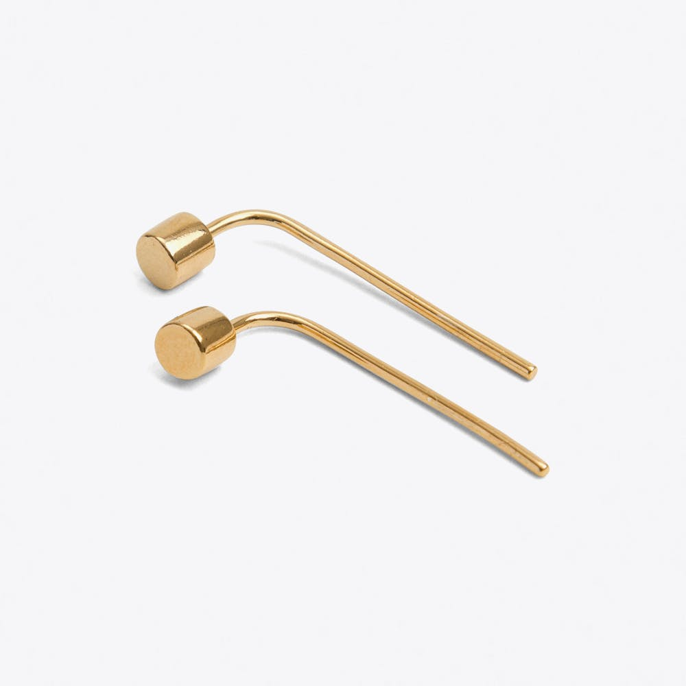 Drop Back Dot Studs in Gold