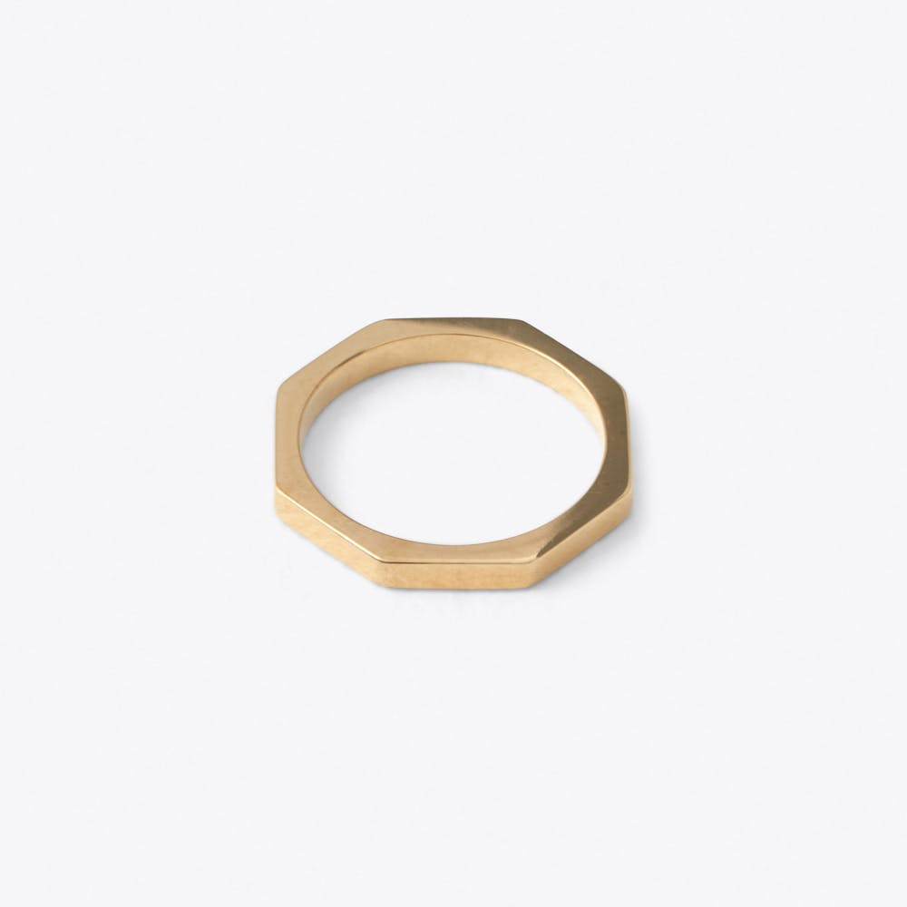 Octagon Bolt Ring in Rose Gold