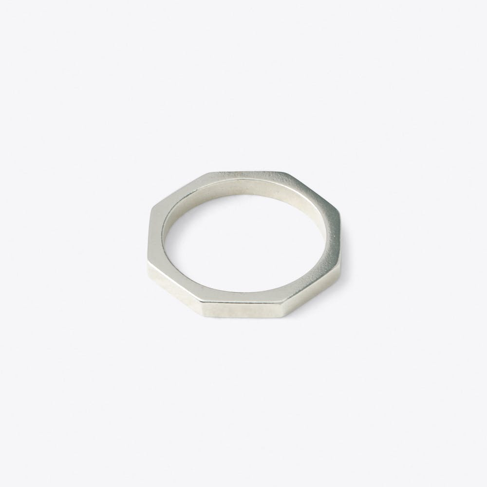 Octagon Bolt Ring in Silver
