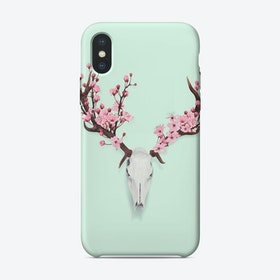 Cherry Blossom Skull iPhone Case