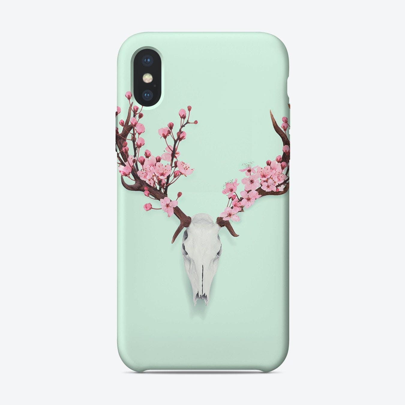 Cherry Blossom Skull iPhone Case