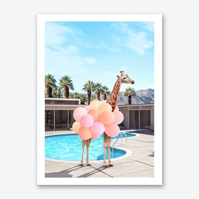 Giraffe Palm Springs Art Print