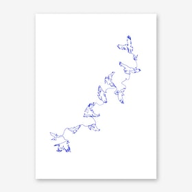 Blue Connected in Flight Art Print