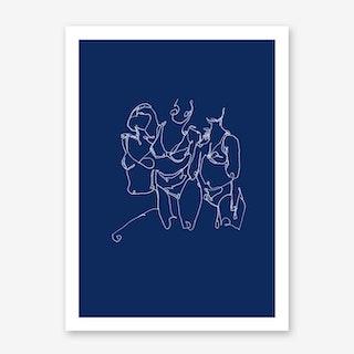 Sisters in Blue Art Print