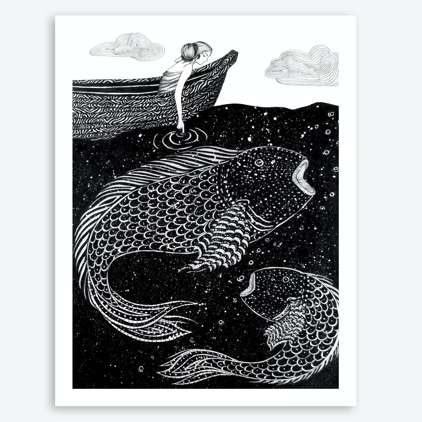 The Shimmering Sea Lights Print