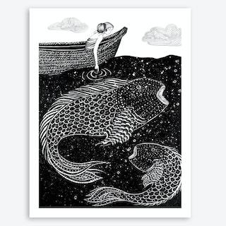 The Shimmering Sea Lights Art Print