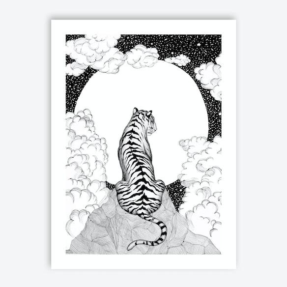 Tiger Moon Print By ECMazur