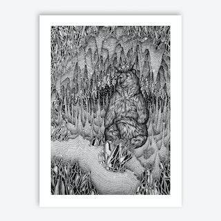 Cave Of The Bear King Art Print