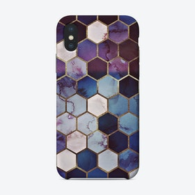 Monis Rugged Marble Hexagon Blue Phone Case