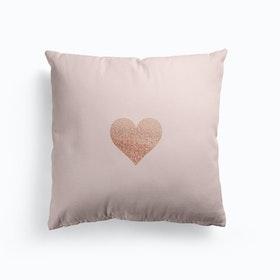 Rosegold Heart On Blush Cushion