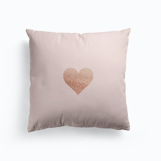 Rosegold Heart On Blush Cushion