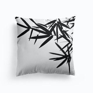 Bamboo Leaves Black Cushion