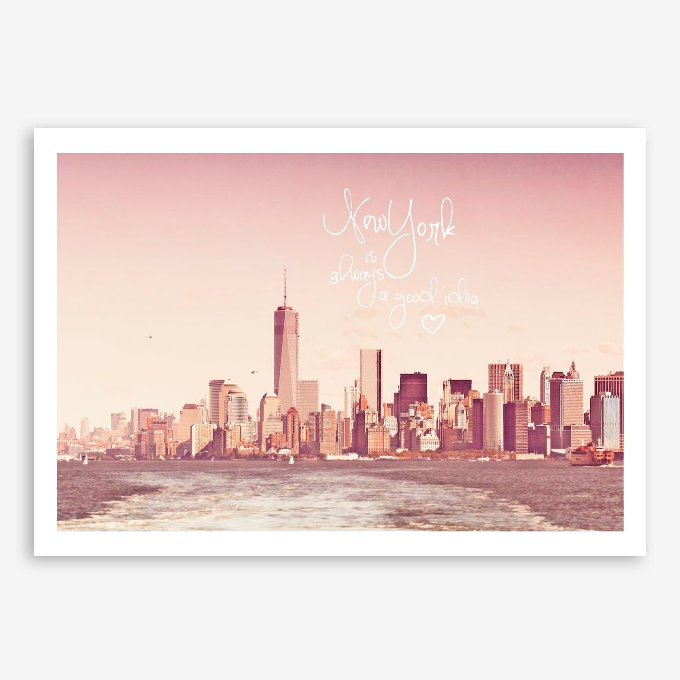 New York Skyline Rose in Print