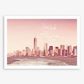 New York Skyline Rose in Art Print