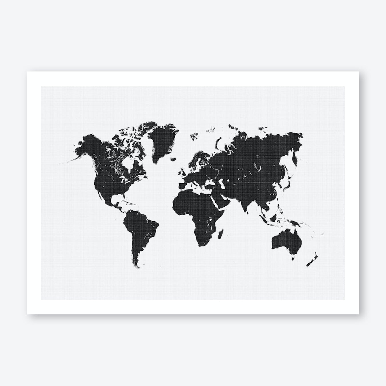 picture about Black and White World Map Printable identified as Entire world Map Artwork Print