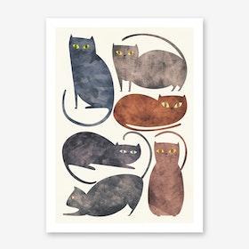 Cats in Art Print