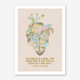 A Traveller's Heart + Quote in Art Print