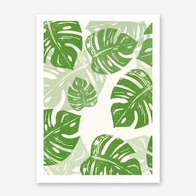 Linocut Monstera - verti in Art Print