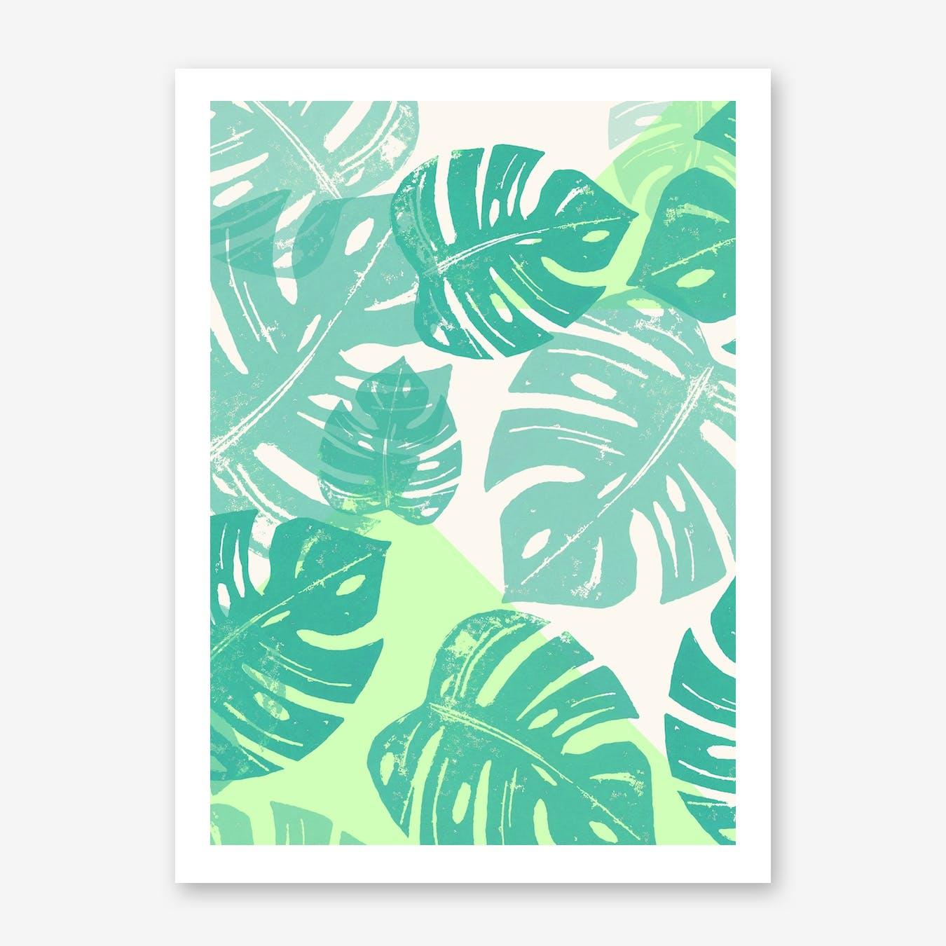 Linocut Monstera Green in Print